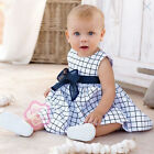 Cotton Plaid Baby Girls Dress Infant Toddler Outfit Tulle Bowknot Kid Clothes