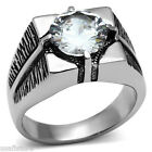 Mens 6.4ct Clear Stones Silver Stainless Steel Black Ring