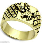 Flying Eagle No Stone Mens Gold EP Ring