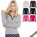 Plain Fine Knit V Neck Button Down Ribbed Cardigan Top Cardi Sweater Office 3491
