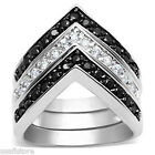 Triple Band Chevron Silver White Gold Plated Hematite Ladies Ring