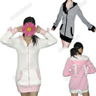 Women's Cute Bunny Ear Hoodie Coat Sherpa Jacket With Bows Four Colors One Size