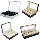 6/10/12 Grids Slot Men Wrist Watch Display Box Case Women Jewelry Storage Holder