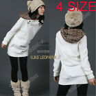 Women's Autumn Hoody Leopard Top Outerwear Parka Coats Sweatshirt  4 SIZE NEW