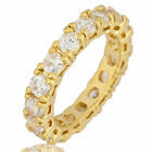 LADY FASHION JEWELRY WHITE CLEAR ROUND CUT TOPAZ YELLOW GOLD GP Ring Size 6/7/8