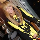 Womens Celebrity Black and Yellow Leaf Print  Party Pencil Bodycon Dress D346