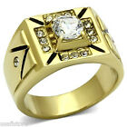 Mens 1.85ct Clear Round Stone Gold Plated Stainless Steel Ring