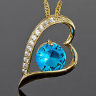 Lady Fashion Jewelry Heart Cut Topaz Gold Tone Pendant Necklace