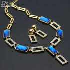 Weddng Jewelry Rectangular 18K Gold Plated Set Blue Necklace Earring For Dress