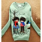 Sweet Girl Cartoon Long Sleeve Round Neck Casual Sweatshirt Outwear Top New 6887