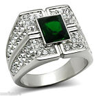 Mens Emerald Green Stone with Full Crystal Silver Stainless Steel Ring