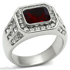 Mens Emerald Cut Dark Red Stone Silver Stainless Steel Ring