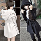 Korea Women's Hooded Coat Trench Jacket Outerwear Dress Style Tops 2 Colors