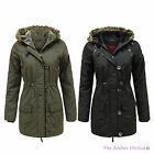 LADIES FAUX FUR HOODED QUILTED PADDED WOMENS MILITARY PARKA JACKET COAT 8-16