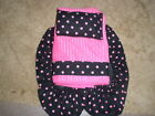 BLACK W/ PINK POLKA DOTS FABRIC BOWLING SHOE COVERS/TOWEL & ROSIN BAG