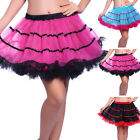 Ladies Rockabilly Swing Tutu Skirt Satin Striped Tulle Layered Petticoat Slip