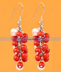 Beautiful Silver Round Red Coral Grape Drop Earrings