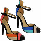 Ladies Ankle Straps Suede Womens Stiletto High Heels Peeptoe Sandals Shoes Size