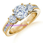 Size 6-10 Women's White Sapphire Zircon Engagement Ring 10kt Yellow Gold Filled