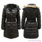 LADIES QUILTED PADDED BELTED FUR HOODED WOMENS PUFFER WINTER COAT PARKA JACKET