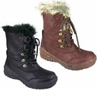 Ladies Womens Flat Warm Lace Up Grip Sole Fur Lined Winter Snow Ankle Boots Size
