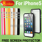 Bumper Case Cover for iPhone 5/5S - with Metal Buttons Free Screen Protector