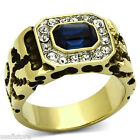 Mens Montana Blue Stone & Crystal Gold Plated Stainless Steel Ring