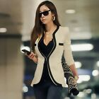 Women's Fashion White / Black Collarless One Hook Button Blazers Coats Jackets