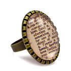 Dictionary Cameo Ring. Word Meaning Scrabble. LOVE HOPE PEACE JOY. XMAS GIFT