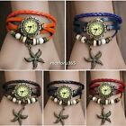 Retro Women Vintage Weave Wrap Quartz Leather Wrist Watch Bracelet 3 Types N4U8