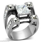 Five Square Top CZ Stones Silver Stainless Steel Mens Ring