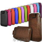 COLOUR (PU) LEATHER PULL TAB POUCH COVER CASES FOR VARIOUS MOBILE PHONES- *NEW*