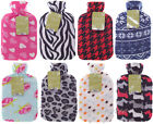 Large Hot Water Bottle with Fleece Cover 8 Styles Available