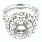 14k White Gold Semi Mount Double Halo Split Shank Diamond Ring 1.32 TCW