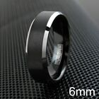 6/8mm Tungsten Men's Black Brushed Silver Edge Comfort Fit Band Wedding Ring