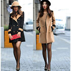 Women Double Breasted Lapel Long Trench Coat Jacket Outwear Top 2 Colors
