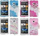 for HTC ONE / M7 -3D Premium Diamond Bling Rhinestone Pearl Hard Skin Case Cover