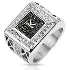 Stainless Steel Initial K Black Micro Paved CZs & Clear CZ Men's Ring Size 9-13