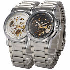 KS Stainless Steel Sport Men Automatic Skeleton Mechanical Watch