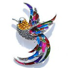Retro Beautiful Colorful Enamel Crystal Bird Peacock Handmade Jewelry Brooch Pin