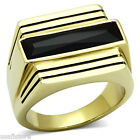 Mens Long Jet Black Center Stone Gold Plated Stainless Steel Ring