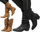 Womens Biker Riding Ladies Mid Heel Slouch Ruched Calf Cowboy Boots Shoes Size