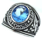 Mens US Air Force Light Sapphire Blue Stone Military Stainless Steel Ring