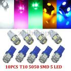 10x T10 501 W5W 5 SMD 5050 LED Side Tail Light Interior Number Plate Bulb Xenon