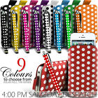 LEATHER POLKA  PULL TAB CASE + STYLUS FOR VARIOUS SAMSUNG PHONES