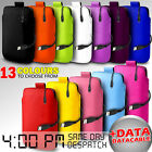 LEATHER PULL TAB POUCH SKIN CASE COVER +DATA CABLE FITS VARIOUS BLACKBERRY PHONE