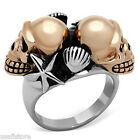 Two Tone Double Skull Rose Gold Silver Stainless Steel Unisex Ring