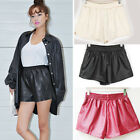 Women's Fashion Wild PU Leather Pants Shorts With Pockets GWF-6229