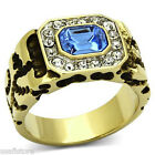 Mens Light Sapphire & Crystal Gold Plated Stainless Steel Ring