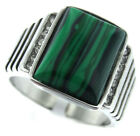 Mens Malachite Green Stone Silver Stainless Steel Ring